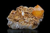 Scheelite bipyramidal crystal in a matrix of muscovite. Scheelite is an ore of the transitional metal tungsten. Fluoresces white.