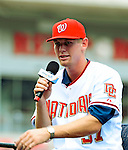 21 August 2009: Washington Nationals' first round draft pitcher Stephen Strasburg answers questions from the media after being formally introduced during a televised event at Nationals Park in Washington, DC. The Nationals agreed to terms with Strasburg, the 2009 number one overall pick in this years' MLB Draft, with fewer than two minutes before the signing deadline. Mandatory Credit: Ed Wolfstein Photo