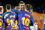 Paulinho Maciel of FC Barcelona (L) celebrates with Lionel Messi of FC Barcelona (R) after scored twice during the La Liga 2017-18 match between FC Barcelona and Deportivo La Coruna at Camp Nou Stadium on 17 December 2017 in Barcelona, Spain. Photo by Vicens Gimenez / Power Sport Images