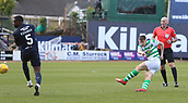 17th March 2019, Dens Park, Dundee, Scotland; Ladbrokes Premiership football, Dundee versus Celtic; Kieran Tierney of Celtic has a shot from the edge of the box