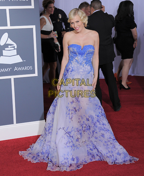 NATASHA BEDINGFIELD .attending The 53rd Annual GRAMMY Awards held at The Staples Center in Los Angeles, California, USA,.February 13th 2011..arrivals grammys grammys full length strapless purple blue white dress long maxi  floral print                                                                     .CAP/RKE/DVS.©DVS/RockinExposures/Capital Pictures.