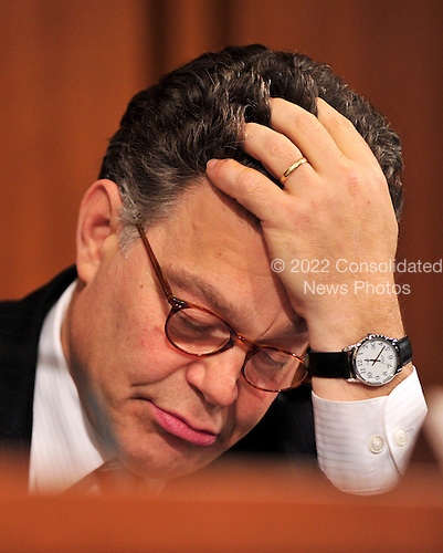 United States Senator Al Franken (Democrat of Minnesota) follows the transcripts during the confirmation hearing for U.S. Solicitor General Elena Kagan as Associate Justice of the United States Supreme Court before the U.S. Senate Judiciary Committee in Washington, D.C. on Monday, June 28, 2010..Credit: Ron Sachs / CNP