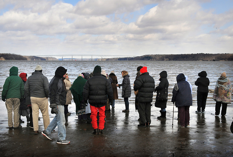 An overview of participants at a Association of Native American of the Hudson Valley, sponsored Native American Water Blessing Ceremony held for the Hudson River at Kingston Point Beach in Kingston, NY, on Saturday, March 4, 2017. Photo by Jim Peppler; Copyright Jim Peppler 2017