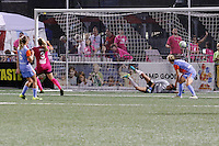 Rochester, NY - Saturday Aug. 27, 2016: Makenzy Doniak celebrates scoring, Lydia Williams during a regular season National Women's Soccer League (NWSL) match between the Western New York Flash and the Houston Dash at Rochester Rhinos Stadium.