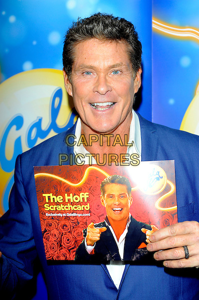 David Hasselhoff .at launch of GalaBingo.com's new scratchcard, Vanilla, London, England, UK, 8th February 2013..half length holding the Hoff  suit blue jacket white shirt .CAP/CJ.©Chris Joseph/Capital Pictures.