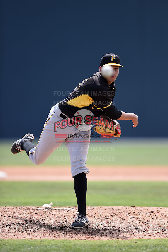 Pittsburgh Pirates pitcher Julio Eusebio (75) during a minor league spring training game against the Toronto Blue Jays on March 26, 2015 at Pirate City in Bradenton, Florida.  (Mike Janes/Four Seam Images)
