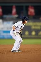 Kane County Cougars center fielder Gabriel Maciel (5) leads off second base during a game against the South Bend Cubs on July 23, 2018 at Northwestern Medicine Field in Geneva, Illinois.  Kane County defeated South Bend 8-5.  (Mike Janes/Four Seam Images)