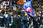 (L-R) Eiji Kawashima, Yosuke Kashiwagi, Maya Yoshida, Shinji Okazaki, Yuto Nagatomo (JPN),<br /> MARCH 29, 2016 - Football / Soccer :<br /> Shinji Okazaki of Japan celebrates his 100th international cap with teammates Maya Yoshida and Yuto Nagatomo after the FIFA World Cup Russia 2018 Asian Qualifier Second Round Group E match between Japan 5-0 Syria at Saitama Stadium 2002 in Saitama, Japan. (Photo by Kenzaburo Matsuoka/AFLO)