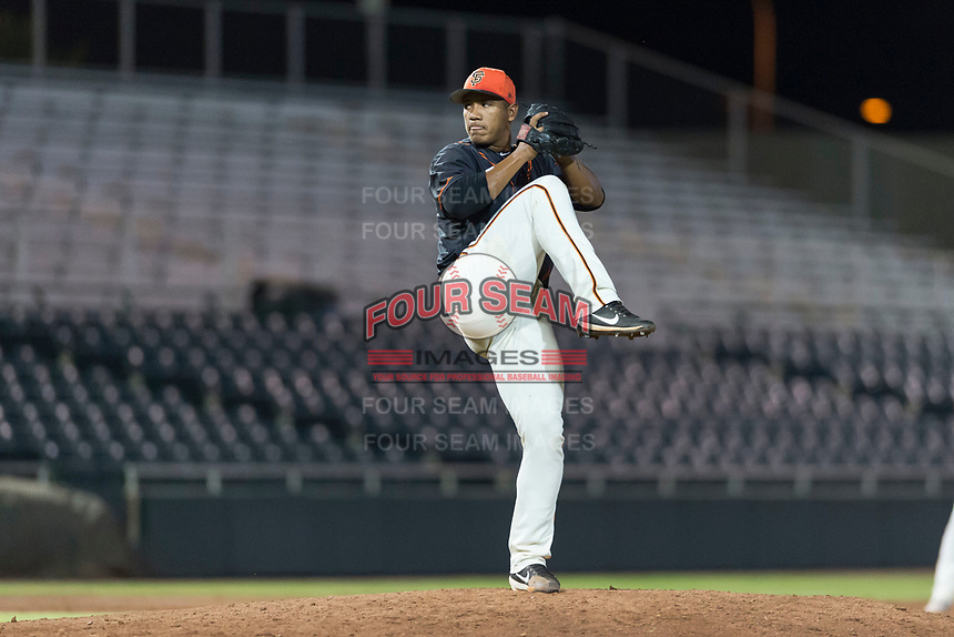 AZL Giants Black relief pitcher Jose Maita (39) delivers a pitch during an Arizona League game against the AZL Rangers at Scottsdale Stadium on August 4, 2018 in Scottsdale, Arizona. The AZL Giants Black defeated the AZL Rangers by a score of 6-3 in the second game of a doubleheader. (Zachary Lucy/Four Seam Images)