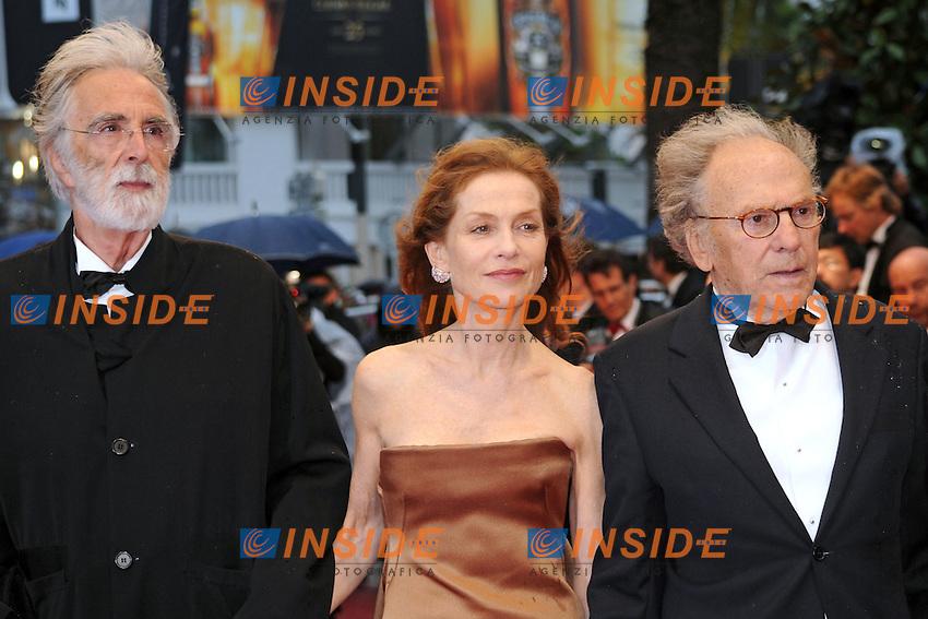 Micael Hanneke, Isabelle Hupert, Jean-Louis Trintignant.Cannes 20/05/2012 65° Festival de Cinema di Cannes.Photo LOIC THEBAUD  Panoramic/Insidefoto