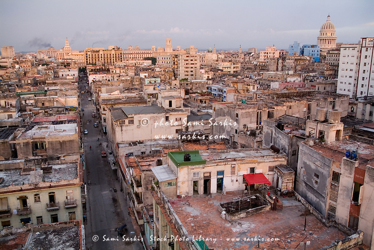 Sunset over the old city buildings, Havana, Cuba.