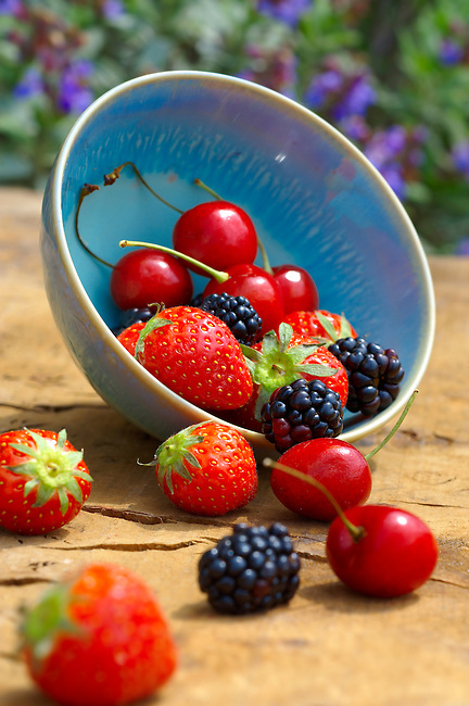 Mixed summer fruits - strawberries, cherries , blackberries
