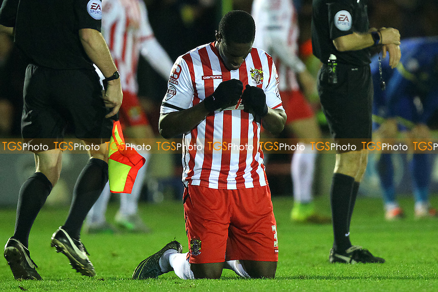 Armand Gnanduillet of Stevenage celebrates victory after the game during AFC Wimbledon vs Stevenage, Sky Bet League 2 Football at the Cherry Red Records Stadium, Kingston, England on 12/12/2015