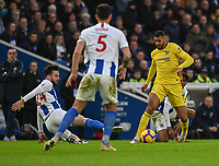 Chelsea's Ruben Loftus-Cheek (left) is tackled by Brighton & Hove Albion's Davy Propper (right)  <br /> <br /> Photographer David Horton/CameraSport<br /> <br /> The Premier League - Brighton and Hove Albion v Chelsea - Sunday 16th December 2018 - The Amex Stadium - Brighton<br /> <br /> World Copyright © 2018 CameraSport. All rights reserved. 43 Linden Ave. Countesthorpe. Leicester. England. LE8 5PG - Tel: +44 (0) 116 277 4147 - admin@camerasport.com - www.camerasport.com