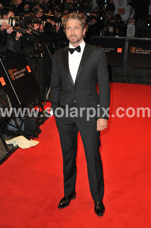**ALL ROUND PICTURES FROM SOLARPIX.COM**                                             **WORLDWIDE SYNDICATION RIGHTS**                                                                                  Arrivals to the Orange British Academy Film Awards held at The Royal Opera House, London, UK. February 13, 2011                                                                            .This pic:    Gerard Butler                                                                                          JOB REF:    12796    MSR       DATE:    13.02.11                                                        **MUST CREDIT SOLARPIX.COM OR DOUBLE FEE WILL BE CHARGED**                                                                      **MUST AGREE FEE BEFORE ONLINE USAGE**                               **CALL US ON: +34 952 811 768 or LOW RATE FROM UK 0844 617 7637**