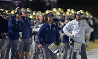 NWA Democrat-Gazette/ANDY SHUPE<br /> Shiloh Christian coach Jeff Conaway (center) directs his team Friday, Nov. 29, 2019, during the first half of play against Nashville at Champions Stadium in Springdale. Visit nwadg.com/photos to see more photographs from the game.