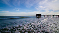 Waves wash ashore near the Cocoa Beach Pier on Wednesday, Jan. 17, 2018, in Cocoa Beach, Florida. (Photo by James Brosher)