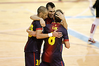 FC Barcelona Alusport's Lin (b), Sergio Lozano (c) and Igor Raphael Lima de Souza celebrate goal during Spanish National Futsal League match.November 24,2012. (ALTERPHOTOS/Acero) /NortePhoto