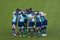 Wycombe pre match team huddle during the Sky Bet League 2 match between Wycombe Wanderers and Hartlepool United at Adams Park, High Wycombe, England on 26 November 2016. Photo by Kevin Prescod / PRiME Media Images.