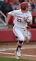 NWA Democrat-Gazette/ANDY SHUPE<br /> Arkansas left fielder Hannah McEwen heads to first after connecting for a leadoff hit against Kentucky Friday, March 29, 2019, during the first inning at Bogle Park in Fayetteville. Visit nwadg.com/photos to see more photographs from the game.
