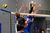 GRONINGEN - Volleybal, Lycurgus - Papendal, Eredivisie,  seizoen 2019-2020, 19-1-2020,  vlok met Lycurgus speler Dennis Borst