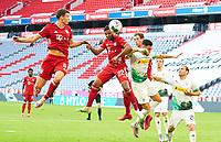 13th June 2020, Allianz Erena, Munich, Germany; Bundesliga football, Bayern Munich versus Borussia Moenchengladbach;  Serge GNABRY, FCB and Benjamin PAVARD, FCB challenge Tony JANTSCHKE, MG for the header