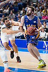 Real Madrid's Felipe Reyes and UCAM Murcia's Radovic during the first match of the playoff at Barclaycard Center in Madrid. May 27, 2016. (ALTERPHOTOS/BorjaB.Hojas)