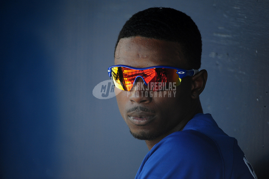 Mar. 27, 2012; Peoria, AZ, USA; Los Angeles Dodgers batter Dee Gordon in the second inning against the San Diego Padres at Peoria Stadium.  Mandatory Credit: Mark J. Rebilas-