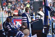 Washington, DC - May 7, 2016: Howard University president Wayne A. I. Frederick prepares to introduce U.S. President Barack Obama during Howard University's 148th Commencement Convocation May 7, 2016.  (Photo by Don Baxter/Media Images International)
