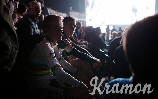 U23 World Champion Eli Iserbyt (BEL/Telenet-Fidea) enjoys the start of the show from inside the arena<br /> <br /> 'Merci Sven' (twice!) sold out arena event: <br /> tribute-show celebrating Sven Nys' career/retirement together with 18.000 people in the Sportpaleis Arena