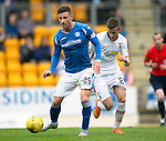 St Johnstone v Inverness Caley Thistle...08.08.15...SPFL..McDiarmid Park, Perth.<br /> Michael O'Halloran is closed down by Liam Polworth<br /> Picture by Graeme Hart.<br /> Copyright Perthshire Picture Agency<br /> Tel: 01738 623350  Mobile: 07990 594431