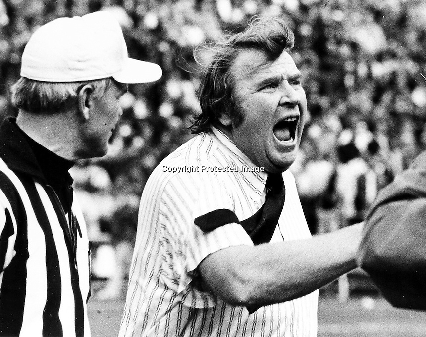 John Madden yells at refs call..Photo by Ron Riesterer