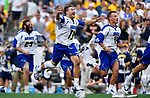 FOXBORO, MA - MAY 28: The Limestone Saints react after beating the Merrimack Warriors during the Division II Men's Lacrosse Championship held at Gillette Stadium on May 28, 2017 in Foxboro, Massachusetts. (Photo by Larry French/NCAA Photos via Getty Images)