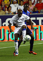 Louis Saha and Bakary Soumare in the MLS All Stars v Everton 4-3 Everton win at Rio Tinto Stadium in Sandy, Utah on July 29, 2009