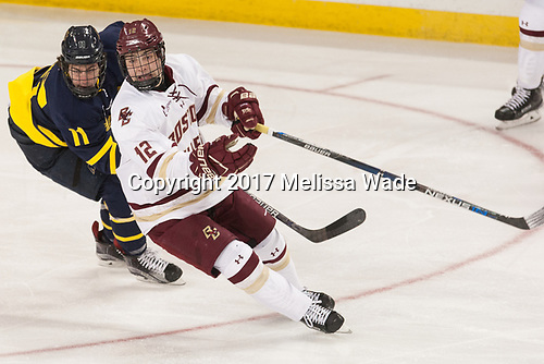 Tyler Irvine (Merrimack - 11), Mike Booth (BC - 12) - The visiting Merrimack College Warriors defeated the Boston College Eagles 6 - 3 (EN) on Friday, February 10, 2017, at Kelley Rink in Conte Forum in Chestnut Hill, Massachusetts.