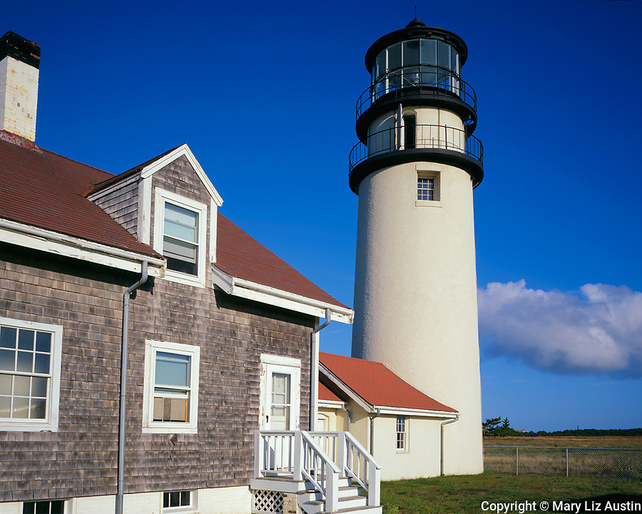 Cape Cod National Seashore, MA <br /> Cape Cod Light and the Queen Anne Style keeper's house.  First established in 1797.  Present tower and keepers house constructed in 1857