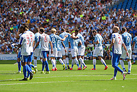 Ravel Morrison of Lazio (center) Celebrates with team mates after Scoring his teams first goal of the game during the Friendly match between Brighton and Hove Albion and Lazio at the American Express Community Stadium, Brighton and Hove, England on 31 July 2016. Photo by Edward Thomas / PRiME Media Images.