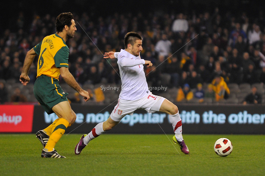 MELBOURNE, AUSTRALIA - JUNE 7: Zoran Tosic of Serbia controls the ball during an international friendly match between the Qantas Australian Socceroos and Serbia at Etihad Stadium on June 7, 2011 in Melbourne, Australia. Photo by Sydney Low / AsteriskImages.com