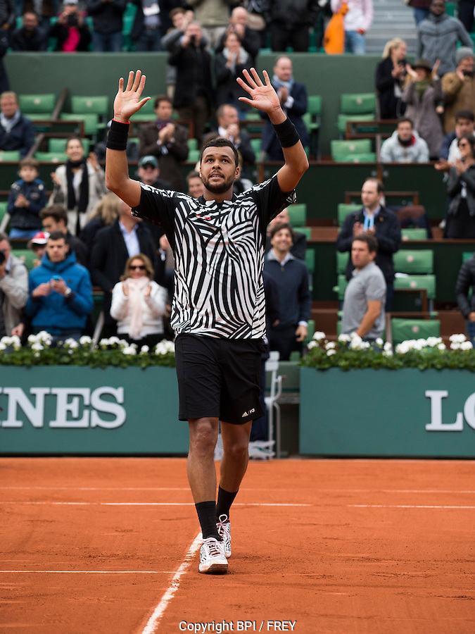 Jo-Wilfreid Tsonga of France in action during Day Three of the 2016 French Open Tennis championship held at Roland Garros, Paris on May 24th 2016