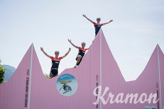Jasper Stuyven (BEL/Trek-Segafredo), Mads Pedersen (DEN/Trek-Segafredo) &amp; Eugenio Alafaci (ITA/Trek-Segafredo) conquering the infamous Stelvio on the training ride<br /> <br /> restday 3 training ride with Team Trek-Segafredo<br /> 100th Giro d'Italia 2017