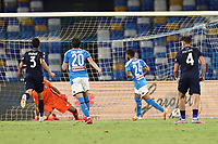 Lorenzo Insigne of SSC Napoli scores a goal<br /> during the Serie A football match between SSC  Napoli and SS Lazio at stadio San Paolo in Naples ( Italy ), August 01st, 2020. Play resumes behind closed doors following the outbreak of the coronavirus disease. <br /> Photo Cesare Purini / Insidefoto