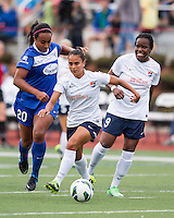 Sky Blue FC midfielder Taylor Lytle (6) dribbles down the field with Boston Breakers midfielder Mariah Nogueira (20) in pursuit.  In a National Women's Soccer League Elite (NWSL) match, Sky Blue FC defeated the Boston Breakers, 3-2, at Dilboy Stadium on June 16, 2013
