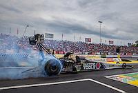 Jun 6, 2015; Englishtown, NJ, USA; NHRA top fuel driver Antron Brown during qualifying for the Summernationals at Old Bridge Township Raceway Park. Mandatory Credit: Mark J. Rebilas-