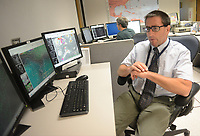 Joseph Miketta, of the National Weather Service Mount Holly Station speaks about the weather Tuesday August 23, 2016 in Mt. Holly, New Jersey. (Photo by William Thomas Cain)