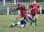 EEjob 04/03/2015 Sport<br /> Colaiste Stiffen Naofa Michael O'Regan &amp; NUI Galway Tinotende Nzuara in Action during there the CUFL Final in Limerick.<br /> Picture  Credit Brian Gavin Press 22