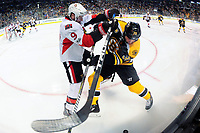 Tuesday, March 21, 2017: Ottawa Senators right wing Bobby Ryan (9) and Boston Bruins left wing Matt Beleskey (39) battle for the puck at the boards during the National Hockey League game between the Ottawa Senators and the Boston Bruins held at TD Garden, in Boston, Mass. Ottawa defeats Boston 3-2 in regulation time. Eric Canha/CSM