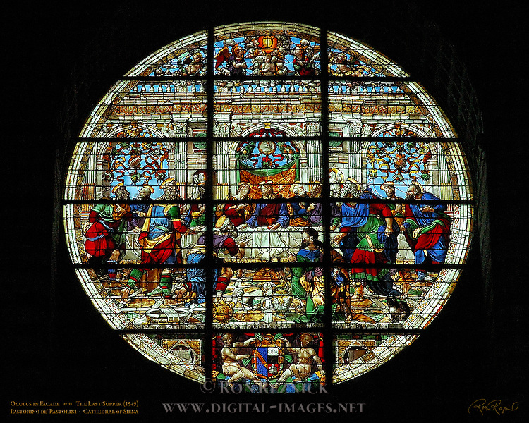 Oculus, Rose Window in Facade, The Last Supper, Pastorino de' Pastorini 1549, Cathedral of Siena, Santa Maria Assunta, Siena, Italy