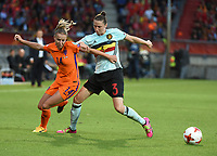 20170724 - TILBURG , NETHERLANDS : Belgian Heleen Jaques (R) and Dutch Jackie Groenen (L)  pictured during the female soccer game between Belgium and The Netherlands  , the thirth game in group A at the Women's Euro 2017 , European Championship in The Netherlands 2017 , Monday 24 th June 2017 at Stadion Koning Willem II  in Tilburg , The Netherlands PHOTO SPORTPIX.BE | DIRK VUYLSTEKE