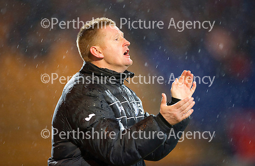St Johnstone v Aberdeen...13.12.11   SPL .St Johnstone manager Steve Lomas applauds.Picture by Graeme Hart..Copyright Perthshire Picture Agency.Tel: 01738 623350  Mobile: 07990 594431