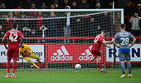 Lincoln City's Josh Vickers saves a penalty taken by Accrington Stanley's Dion Charles<br /> <br /> Photographer Andrew Vaughan/CameraSport<br /> <br /> The EFL Sky Bet League One - Accrington Stanley v Lincoln City - Saturday 15th February 2020 - Crown Ground - Accrington<br /> <br /> World Copyright © 2020 CameraSport. All rights reserved. 43 Linden Ave. Countesthorpe. Leicester. England. LE8 5PG - Tel: +44 (0) 116 277 4147 - admin@camerasport.com - www.camerasport.com